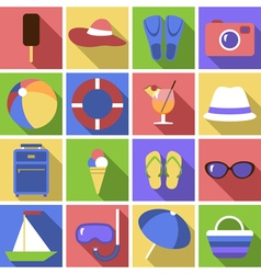 Icon set Flat travel objects vector image