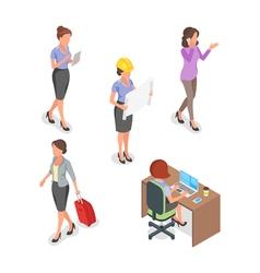 Isometric set of businesswoman vector image