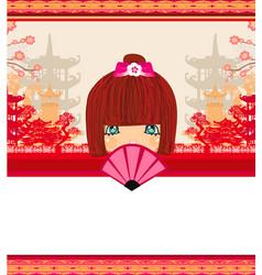 Kokeshi doll cartoon character beautiful vector