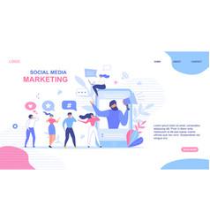 Landing page design for social media marketing vector