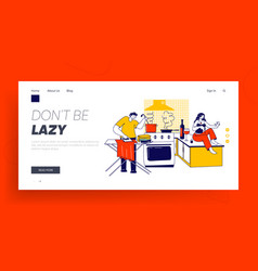 Lazy spouse landing page template husband ironing vector