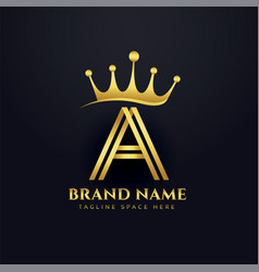 letter a crown golden logo concept design vector image
