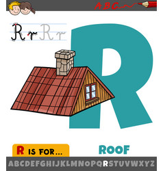 Letter r worksheet with cartoon roof object vector