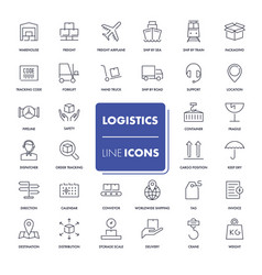 Line icons set logistics vector