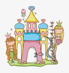 little mermaids art cartoon vector image