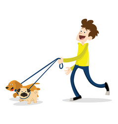 Man walking with a dog vector