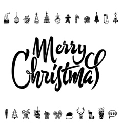 Merry christmas and happy new year 2017 hand vector