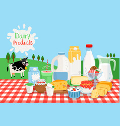 milk farm products vector image