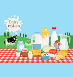 Milk farm products vector
