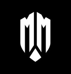 mm logo monogram with emblem shield style design vector image