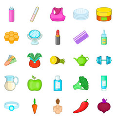 Moisturizing the skin icons set cartoon style vector