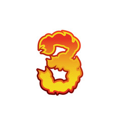 number 3 fire flames font three tattoo alphabet vector image