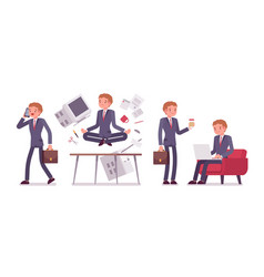 Office scene with busy and relaxed in yoga young vector