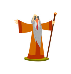 Old wizard with magic staff fairy tale character vector