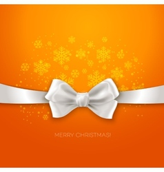 Orange Christmas background ribbon with white silk vector