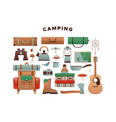 outdoor camping vacation icon set vector image