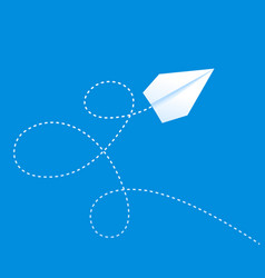 paper plane on blue sky with path travel vector image