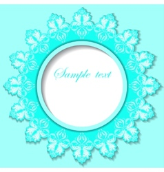 Paper round frame with floral pattern vector image