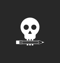 pencil and skull mockup logo design studio or vector image