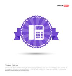 phone pictogram icon - purple ribbon banner vector image