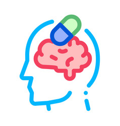 pills drugs man silhouette headache icon vector image