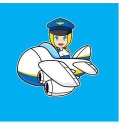 Pilot moslem girl cartoon vector