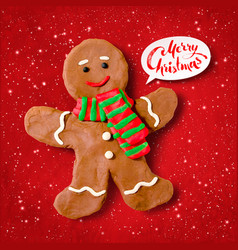 Plasticine of gingerbread man vector