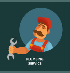 Plumbing service promotional poster with plumber vector
