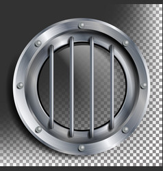Porthole round silver window with rivets vector