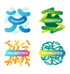 Probiotics logo icon collection digestive health vector