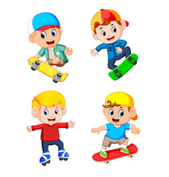 professional boy playing the skateboard vector image