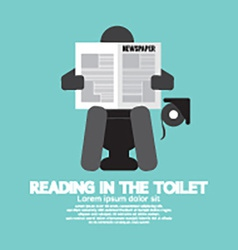 Reading in The Toilet Symbol vector image