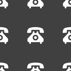 Retro telephone handset icon sign Seamless pattern vector