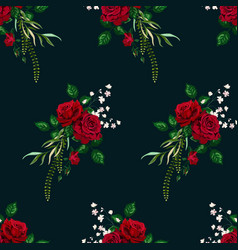 roses seamless pattern card for design vector image