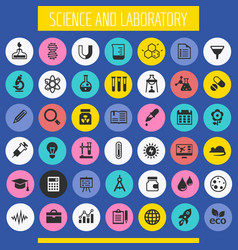 Science and laboratory icon set trendy flat icons vector