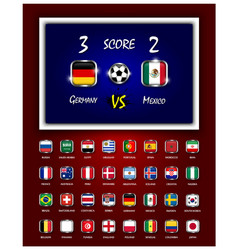 Scoreboard of football match and square design vector