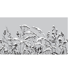 Seamless border with monochrome meadow plants vector
