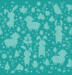 seamless pattern with chickens and eggs silhouette vector image