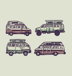 Set campervan vector