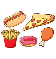 set food on white background vector image