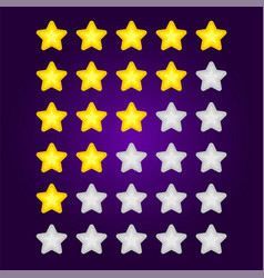 set gray and yellow star rating mobile game vector image