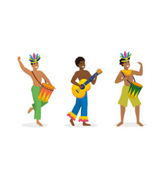 set men dancers and musician with drum and guitar vector image