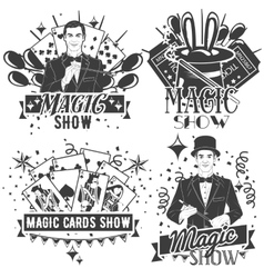 Set of magic show labels in vintage style vector