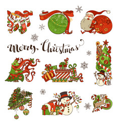 Set of merry christmas decorations and design vector