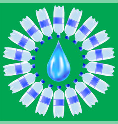 Set of plastic water bottles and blue water drop vector