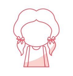shadow faceless cute little girl cartoon vector image