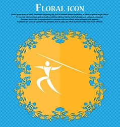 Summer sports Javelin throw icon Floral flat vector