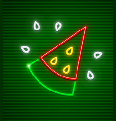 sweet red watermelon neon icon vector image