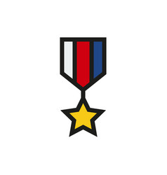 the medal icon honor symbol on white background vector image