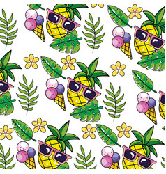 tropical summer semaless pattern cartoon vector image